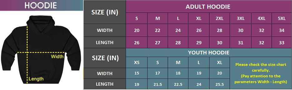 Adult & Youth Hoodie   Size Chart
