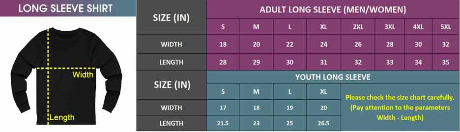Adult & Youth Long Sleeve   Size Chart