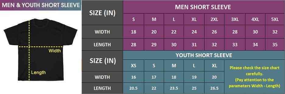 Men & Youth Short Sleeve   Size Chart