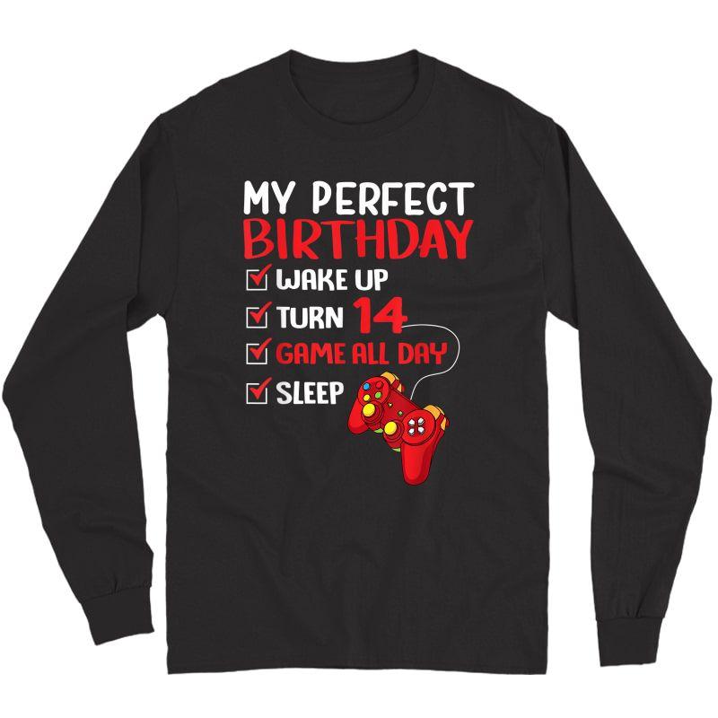 14th Perfect Birthday Gamer Gaming 14 Years Old T-shirt Long Sleeve T-shirt