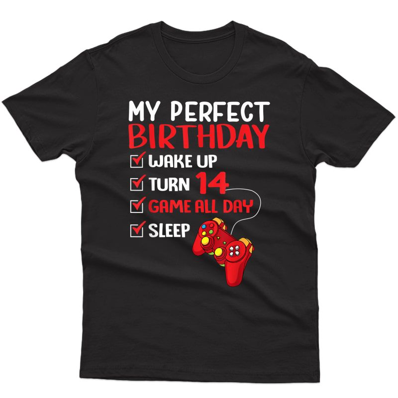 14th Perfect Birthday Gamer Gaming 14 Years Old T-shirt