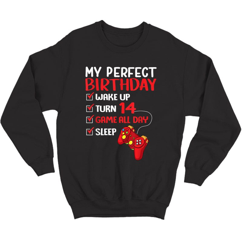 14th Perfect Birthday Gamer Gaming 14 Years Old T-shirt Crewneck Sweater