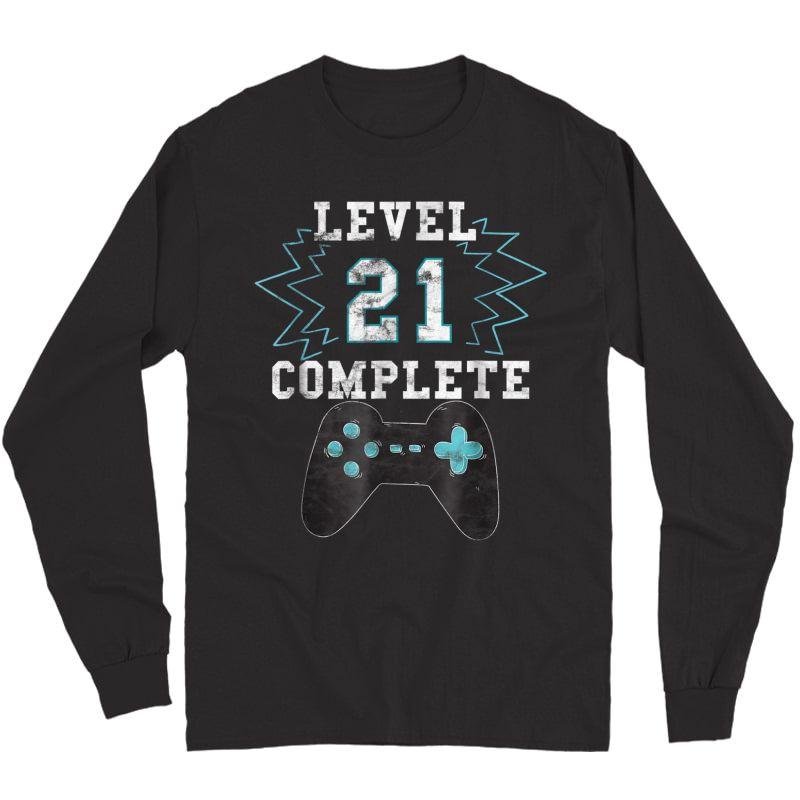 21st Birthday Video Game Humor Tee Funny Gamer Gifts T Shirt Long Sleeve T-shirt