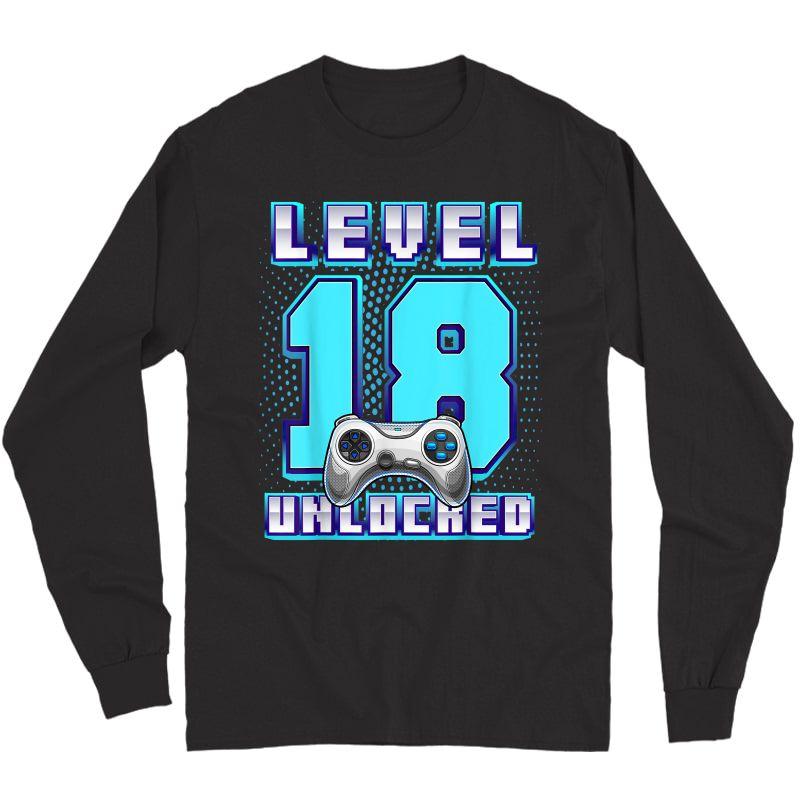 Level 18 Unlocked Video Game 18th Birthday Gamer T-shirt Long Sleeve T-shirt